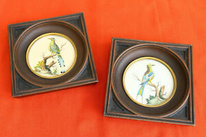 Two Small Framed Art Prints Birds Vintage Colorful Matched Mcm Frames Unusual Db