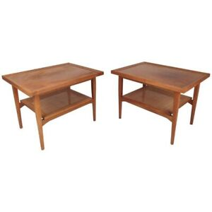 Drexel Kipp Stewart Declaration Side End Tables Walnut Cane Mid Century Modern