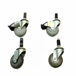 lot Of 4 Colson Performa 3 5 X 1 25 Ball Bearing Swivel Casters W 2 Brakes
