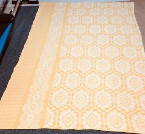Vintage 40s Bed Coverlet Tablecover Gold White Cutter Small Spots Cotton