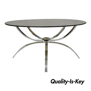 Mid Century Italian Modern Chrome Steel Spider Base Round Glass Top Coffee Table