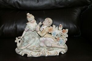 Vintage Victorian Woman And Man Porcelain Figurine With Music Box And Light
