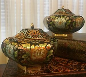Pair Of Japanese Chinese Cloisonne Brass Enamel Painted Urns Vases Vintage Rare