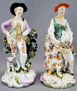 Large Derby Hand Painted Georgian Shepard Figurines With Dog Lamb C 1760s