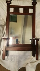 Vintage Antique Wooden Stand Vanity Mirror Wood Stand Up Or Hanging