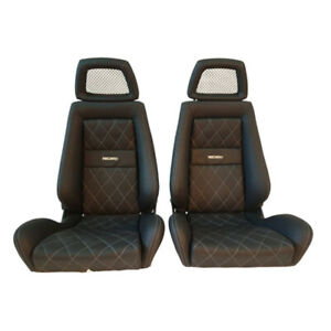 2 Jdm Recaro Lx Specialist Leather Reclinable Fishnet Headrest Racing Seats Car