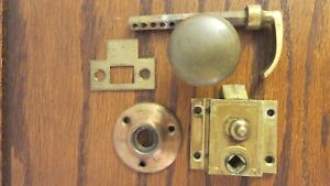 Vintage Original Screen Storm Door Latch Rim Lock Handle Hardware Knob Brass