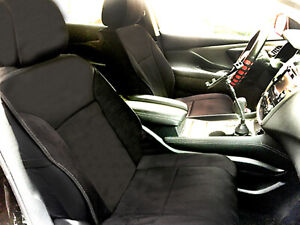 2 Black Suede Leather Front Car Seat Covers For Suv Bucket 805