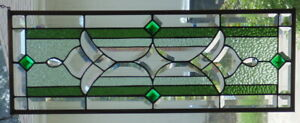 Stained Glass Transom Window Hanging 3 0 X 11 1 2 Brass Border Edging