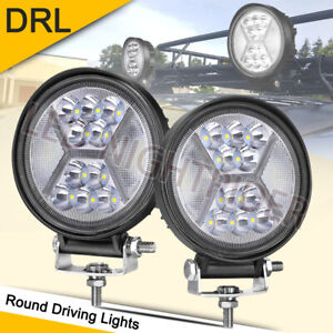 5inch 117w Yellow Drl Round Led Driving Spot Lights Flood 6000k Off Road 4wd X2