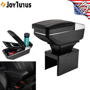 Universal Dual Car Center Console Armrest Box Pu Leather Storage Cup Holder Usa