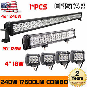 42inch Led Light Bar Combo 20in 4x 4 Led Pods Off Road Truck Fits Jeep Ford