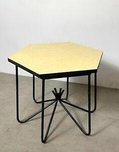 Vintage Mid Century Modern Wrought Iron Hexagon Table Royere Hirondelle Style