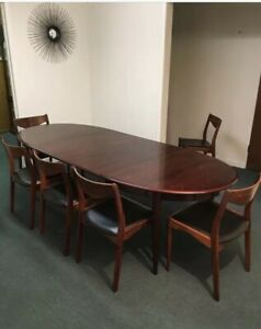 Danish Modern Rosewood Dining Table 6 Sl M Bler Chairs