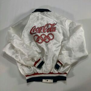 Vintage 80s King Louie Olympics Coca-Cola Team USA Satin Jacket LARGE White US