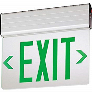 Brand New Lithonia Edge Lit Led Exit Sign green Double Face edg 2 Gmr El M6