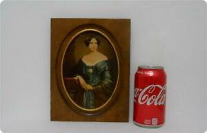 Vintage Wood Framed Wall Print Picture Of Victorian Lady