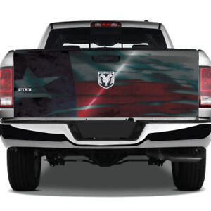 Texas Flag Metal Grunge Graphic Wrap Rear Tailgate Vinyl Pickup Truck Decal
