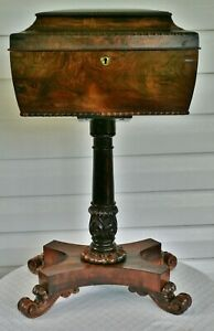 Antique Rosewood Teapoy On Stand Chest Caddy English Regency C 1820 Sarcophagus