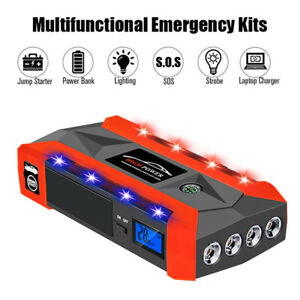 Waterproof 12v Lcd 4usb Car Jump Starter Pack Booster Charger Battery Power Bank