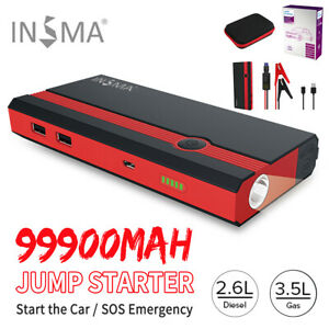 99900mah Portable 12v Car Jump Starter Power Bank Booster Usb Charger Battery Us
