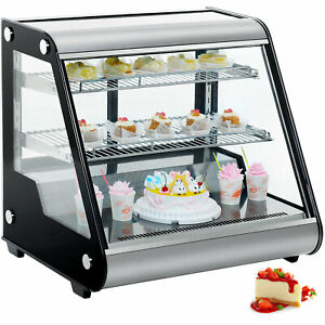 4 6 Cu Ft Countertop Refrigerated Display Case Double Tempered Glass Led Lights