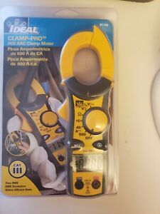 ideal 61 746 Clamp Pro 600 Aac True Rms Clamp Meter W Leads Bag New