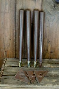Set 4 Vintage Mid Century Modern Tapered Wood Table Legs With Brackets