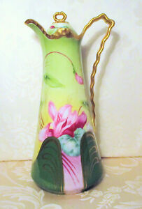 Antique Art Nouveau German Sweet Pea Floral Green Pink With Gold Chocolate Pot