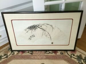 Antique Chinese Fan Painting On Paper Signed With Wax Export Seal