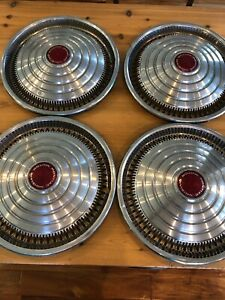 1969 1972 Pmd 15 Inch Pontiac Motor Division Hubcaps Vintage Catalina Red