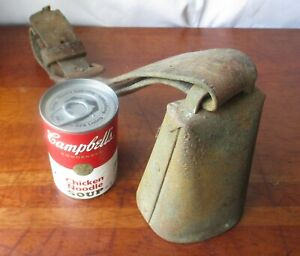 Antique Primitive Xx Large Cow Bull Bell Original Leather Collar Blacksmith Made