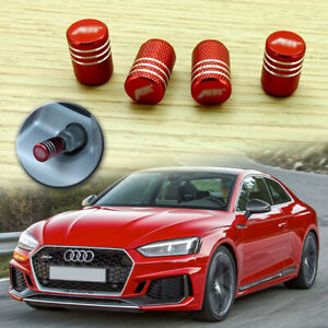 4pcs Red Car Wheel Tyre Tire Air Valve Stem Caps Abt Emblem Fit Audi Vw