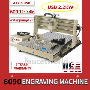 2 2kw Usb 4 Axis 6090 Router Engraver Metal Milling Machine 3d Wood Cutter