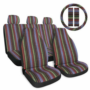 Baja Car Seat Covers Stripe Colorful Saddle Blanket Seat Protector Universal