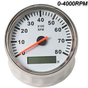 85mm Universal Car Marine Boat Tachometer Gauge 8000rpm Led Meter Waterproof 12v