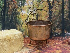 Antique Large Copper Cauldron Pot Kettle Apple Butter Handcrafted Dovetail Rare
