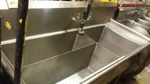 Three 3 Bowl Meat Platter Stainless Steel Sink 72 X 24