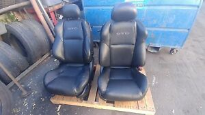 04 05 06 Pontiac Gto Black Ebony Leather Front Seats Oem Full Power Gm Hotrod
