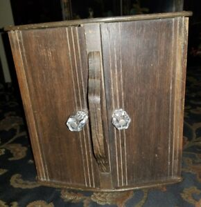 Mahogany Wood Double Door Vintage Sewing Storage Box Stands Up Or Sits Flat