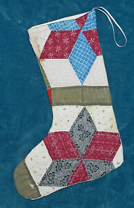 Fabulous Antique Vintage Cutter Quilt Christmas Stocking 39 Green Burgundy