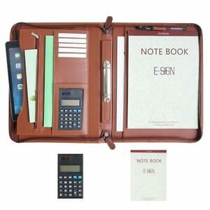 Ivesign Pu Leather Briefcase Business Binder Padfolio Portfolio With Calculator