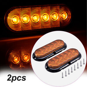 2x Amber 6 Oval 6 Led Surface Mount Stop Turn Signal Tail Marker Lights Sealed