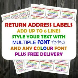 Personalised Sticky Return Address Mini Or Large Add Text Any Colour Labels