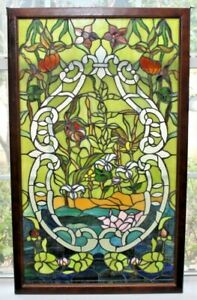 Vintage Stained Glass Window Leaded Lg Brown Frame 36x22 Frame 33x19 Window Only