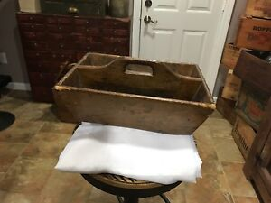 Antique Primitive Carpenters Caddy New England Style Wood Tool Box Square Nails