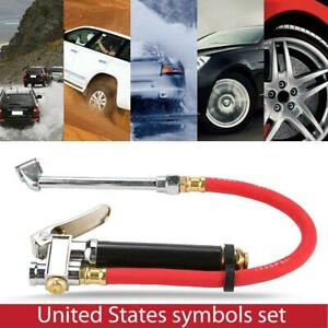 Car Tire Pressure Filler Fill Inflator Gauge Dual Chuck Air Compressor Hose Us