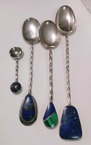 Set Of 4 Vintage Sterling Silver Demitaisse Salt Spoons From Chile With Lapis