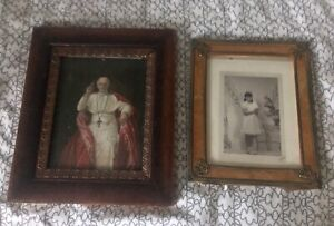 Two Antique Picture Frames Plus Photos Brass And Wood