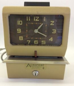 Vintage Acroprint Time Recorder Auto Punch Clock 125qr4 Time Clock Working